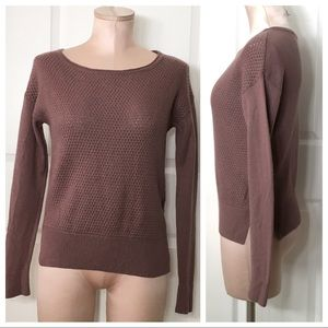 Loft Ann Taylor Mauve Knit Merino Wool Blend Top S